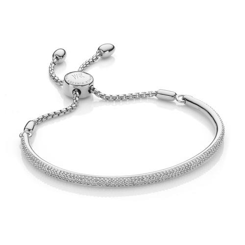 Sterling Silver Fiji Pave Bar Petite Bracelet - Diamond - Diamond - Monica Vinader