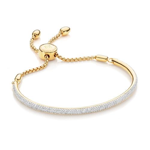 Gold Vermeil Fiji Pave Bar Petite Bracelet - Diamond - Diamond - Monica Vinader