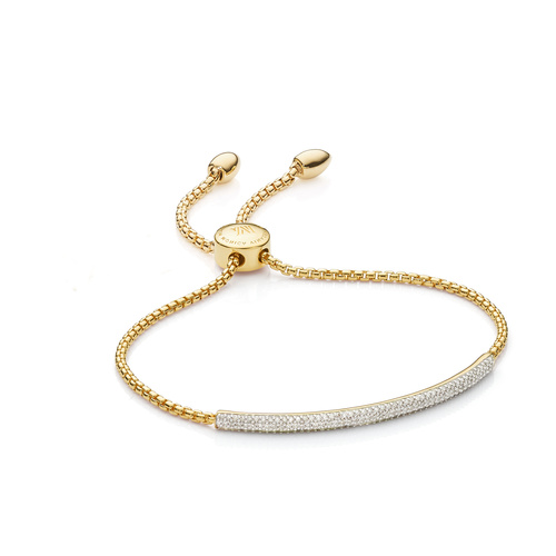 Gold Vermeil Fiji Diamond Mini Bar Bracelet - Diamond - Monica Vinader