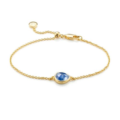 Gold Vermeil Siren Fine Chain Bracelet - Kyanite - Monica Vinader