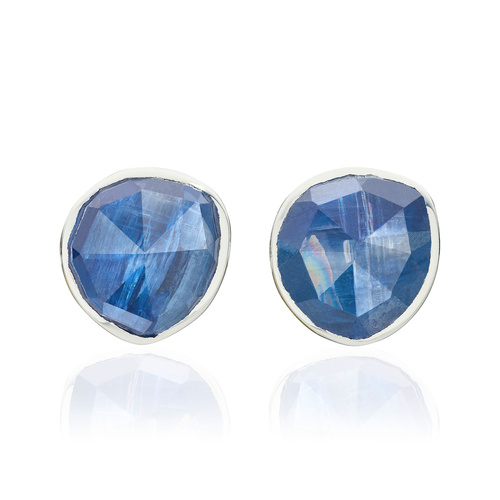 Sterling Silver Siren Stud Earrings - Kyanite - Monica Vinader