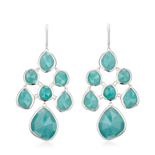 Sterling Silver Siren Chandelier Earrings - Amazonite - Monica Vinader