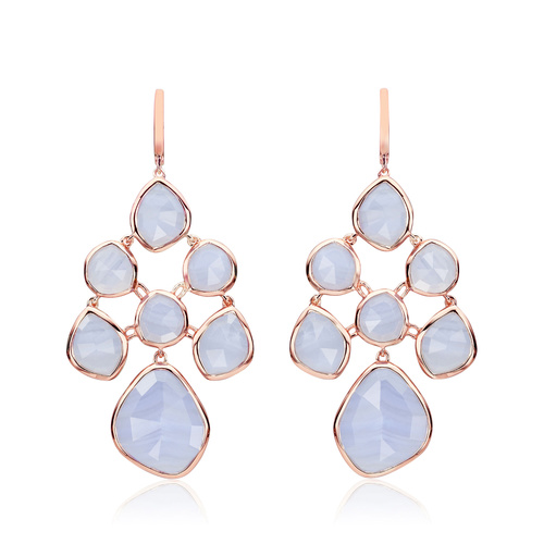 Rose Gold Vermeil Siren Chandelier Earrings - Blue Lace Agate - Monica Vinader