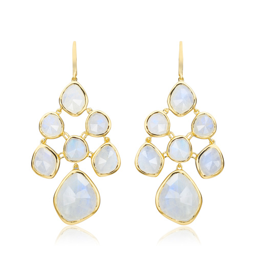 Gold Vermeil Siren Chandelier Earrings - Moonstone - Monica Vinader
