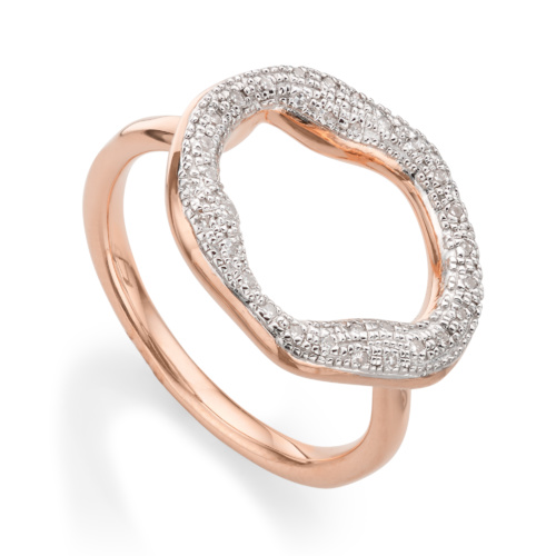 Rose Gold Vermeil Riva Diamond Circle Ring - Diamond - Monica Vinader