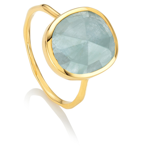 Gold Vermeil Siren Medium Stacking Ring - Aquamarine - Monica Vinader