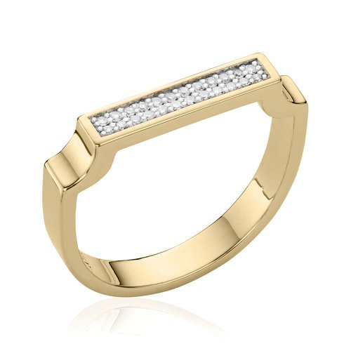 Gold Vermeil Signature Diamond Ring - Diamond - Monica Vinader