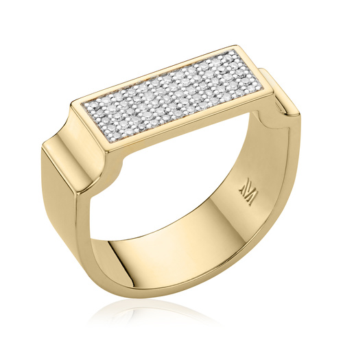 Gold Vermeil Signature Wide Diamond Ring - Diamond - Monica Vinader