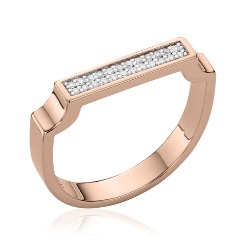 Rose Gold Vermeil Signature Diamond Ring - Diamond - Monica Vinader