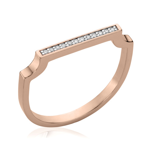 Rose Gold Vermeil Signature Thin Diamond Ring - Diamond - Monica Vinader