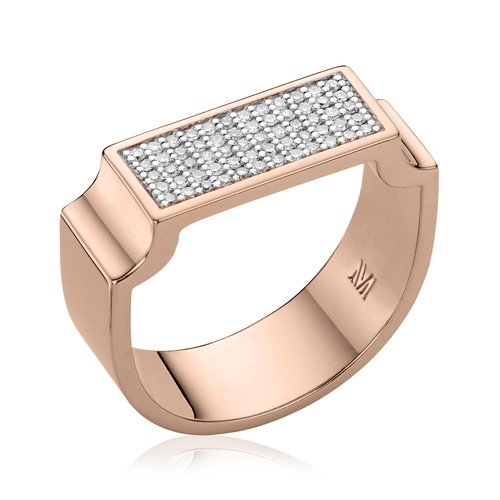 Rose Gold Vermeil Signature Wide Diamond Ring - Diamond - Monica Vinader