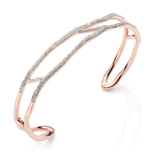 Rose Gold Vermeil Riva Waterfall Diamond Cuff - Large - Diamond - Monica Vinader