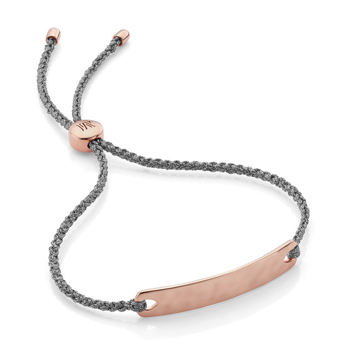 Rose Gold Vermeil Havana Mini Friendship Bracelet - Silver Metallica - Monica Vinader