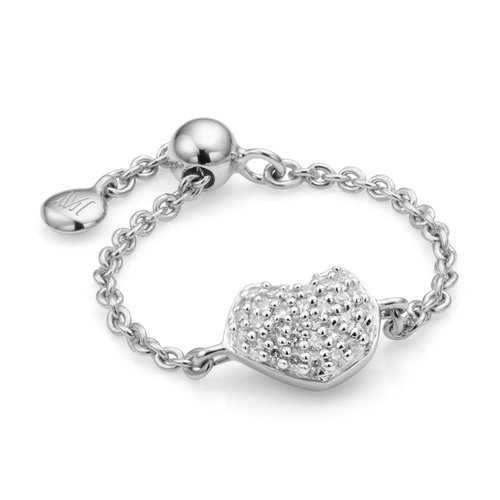 Nura Mini Heart Adjustable Friendship Diamond Ring - Diamond - Monica Vinader