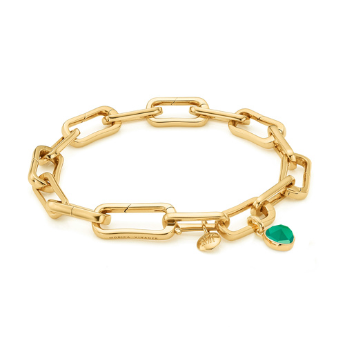 Alta Capture Charm Bracelet and Siren Mini Bezel Pendant Charm Set - Green Onyx - Monica Vinader