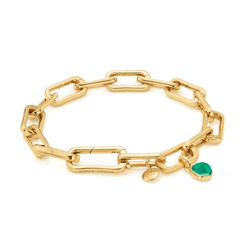 Alta Capture Charm Bracelet and Siren Mini Bezel Pendant Charm Set - Green Onyx - Monica Vinader