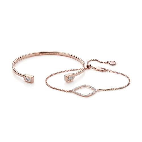 Riva Diamond and Baja Deco Thin Cuff Diamond Bracelet Set - Monica Vinader