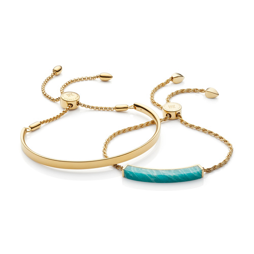 Fiji Chain and Linear Stone Bracelet Set - Amazonite - Monica Vinader