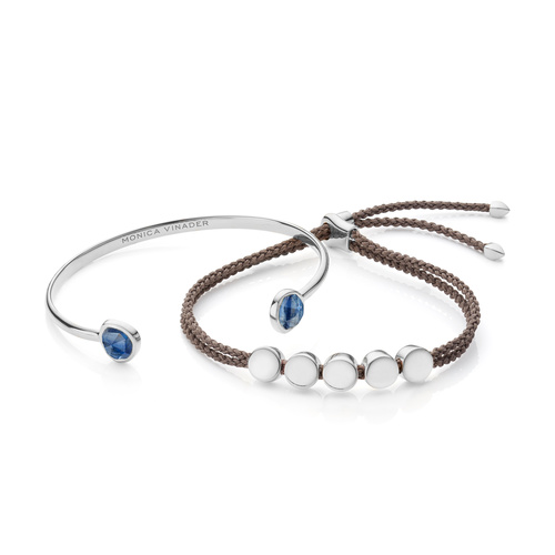 Siren Cuff and Linear Bead Friendship Bracelet Set - Kyanite - Monica Vinader