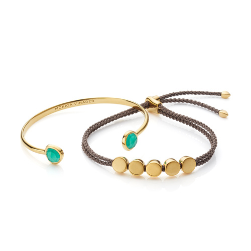 Siren Cuff and Linear Bead Friendship Bracelet Set - Green Onyx - Monica Vinader
