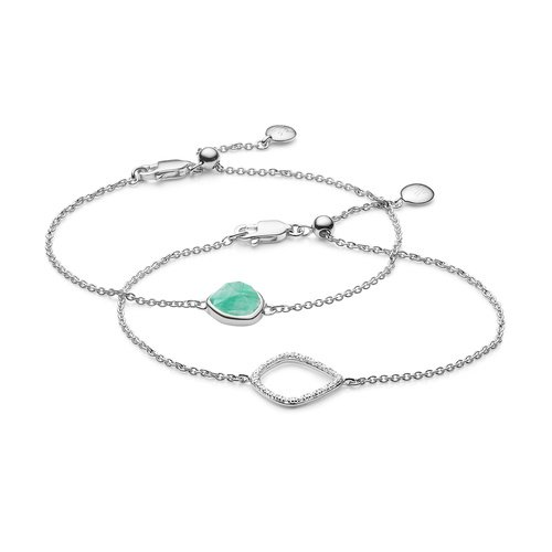 Siren and Riva Kite Chain Bracelet Set - Amazonite - Monica Vinader