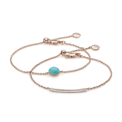 Nura Mini Nugget and Skinny Diamond Bracelet Set - Turquoise - Monica Vinader