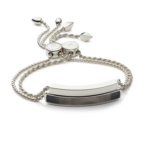 Baja and Linear Friendship Chain Bracelet Set - Grey Agate - Monica Vinader