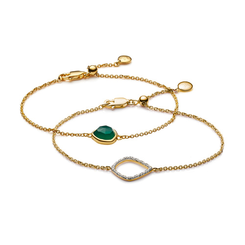 Siren and Riva Kite Diamond Bracelet Set - Green Onyx - Monica Vinader