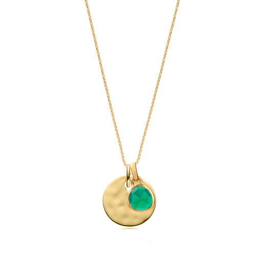 Siren Mini Bezel and Ziggy Round Pendant Charm Necklace Set - Green Onyx - Monica Vinader