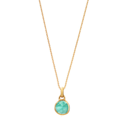 Siren Mini Bezel Pendant Charm Necklace Set - Amazonite - Monica Vinader