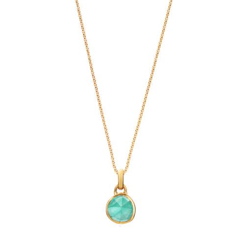 Siren Mini Bezel Pendant Charm Necklace Set - Amazonite - Monica Vinader