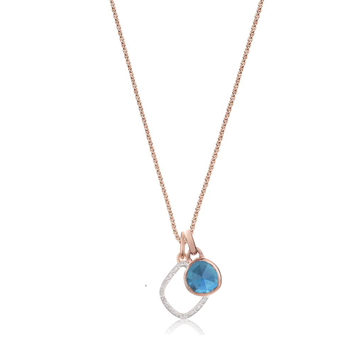 Siren Mini Bezel and Riva Diamond Pendant Charm Necklace Set - Kyanite - Monica Vinader