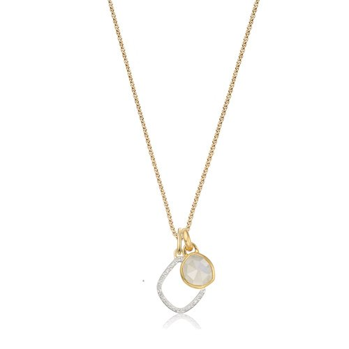 Siren Mini Bezel and Riva Diamond Pendant Charm Necklace Set - Moonstone - Monica Vinader