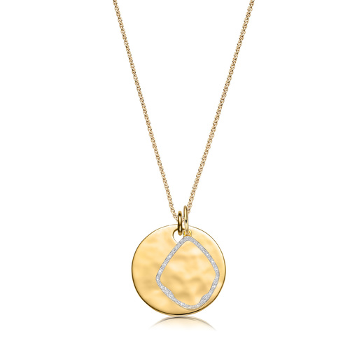 Havana Large Round and Riva Diamond Pendant Charm Necklace Set - Monica Vinader