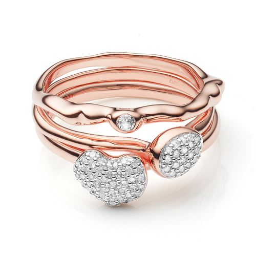 Nura Mini Heart,Teardrop and Siren Band Ring Set - Monica Vinader