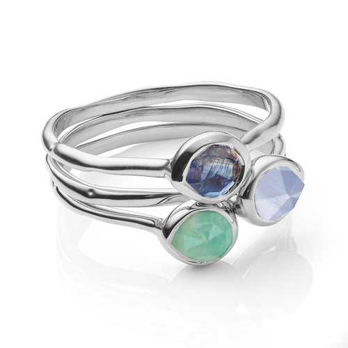 Siren Small Stacking Ring Set - Amazonite, Kyanite and Blue Lace Agate - Monica Vinader