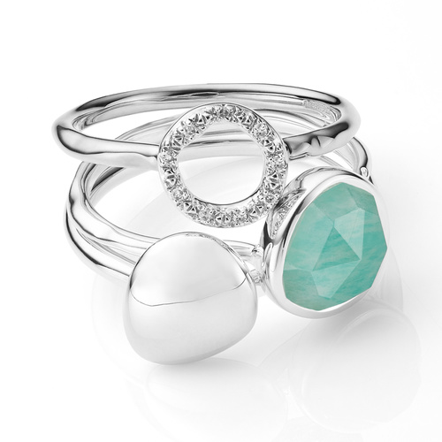 Nura Small Pebble, Stacking and Riva Circle Ring Set - Monica Vinader