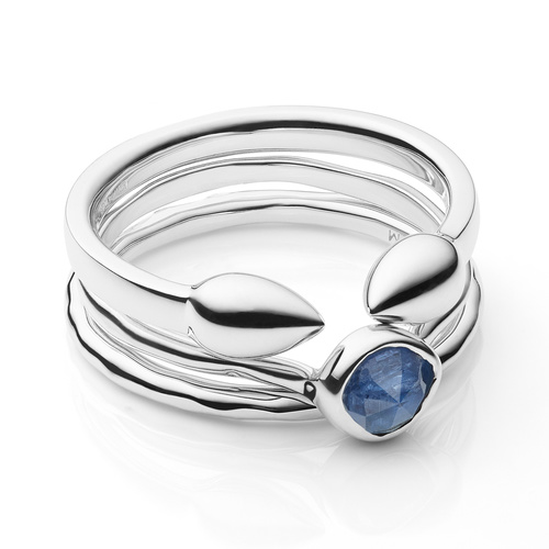 Fiji Bud, Siren Stacking and Hammered Ring Set - Kyanite - Monica Vinader