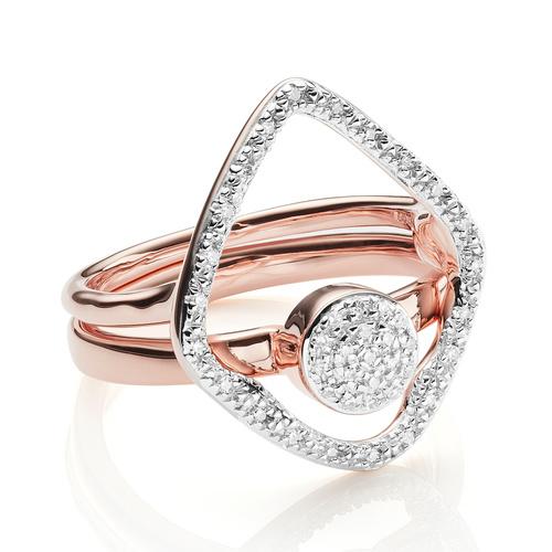 Riva and Fiji Mini Button Diamond Ring Set - Monica Vinader
