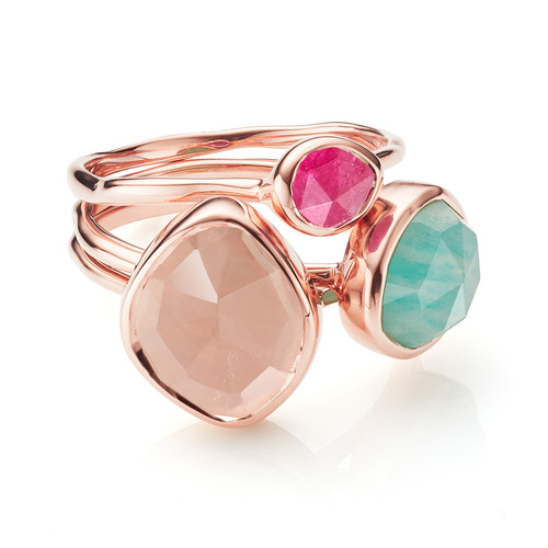 Siren Small Nugget, Stacking and Small Stacking Ring Set - Rose Quartz, Amazonite and Pink Quartz - Monica Vinader