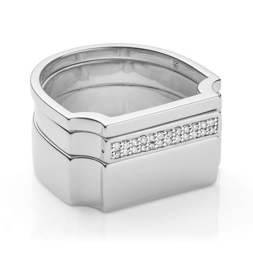 Signature Plain and Diamond Ring Set - Monica Vinader
