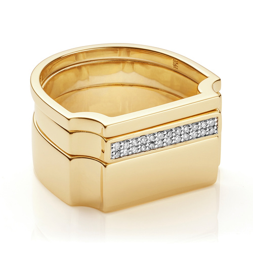 Signature Plain and Diamond Ring Set - Monica Vinader