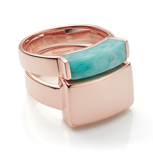 Linear Plain and Stone Ring Set - Amazonite - Monica Vinader
