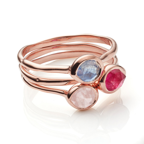 Siren Small Stacking Ring Set - Rose Quartz, Pink Quartz and Kyanite - Monica Vinader