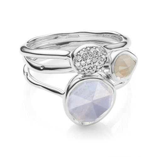 Siren Stacking and Small Stacking Diamond Ring Set - Blue Lace Agate and Grey Agate - Monica Vinader
