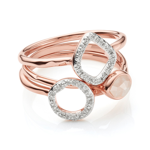 Siren Small Stacking and Riva Diamond Ring Set - Rose Quartz - Monica Vinader