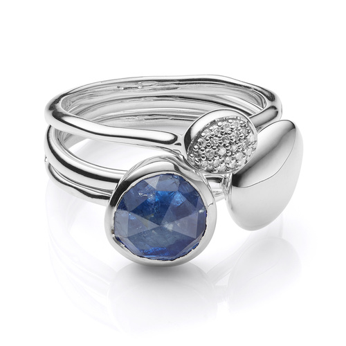 Nura Plain, Siren Stacking and Small Stacking Diamond Ring Set - Kyanite - Monica Vinader