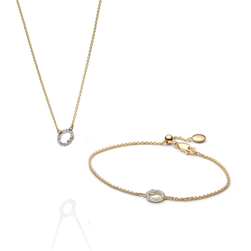 Riva Circle Necklace and Bracelet Diamond Set - Monica Vinader