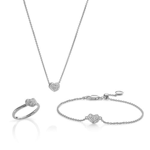 Nura Heart Ring, Necklace and Bracelet Diamond Set - Monica Vinader