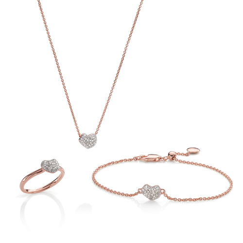 Nura Heart Ring, Necklace and Bracelet Diamond Set - Monica Vinader
